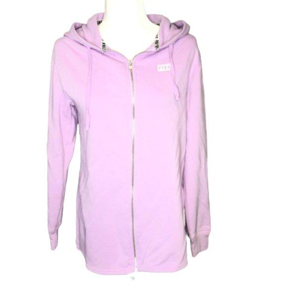 Victorias Secret Pink New Side Slit Full-Zip Hoodie Small Oversized Blue